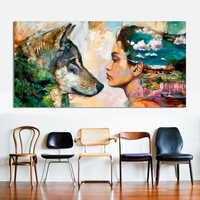 Mur Art toile Animal peinture à l'huile loup et fille mur photos pour salon pas de cadre affiches et peintures pour la décoration intérieure