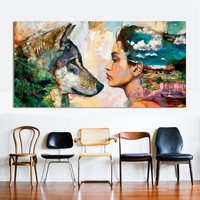 Wall Art Canvas Animal Oil Painting Wolf and Girl Wall Pictures For Living Room No Frame Posters and Paintings for Home Decor