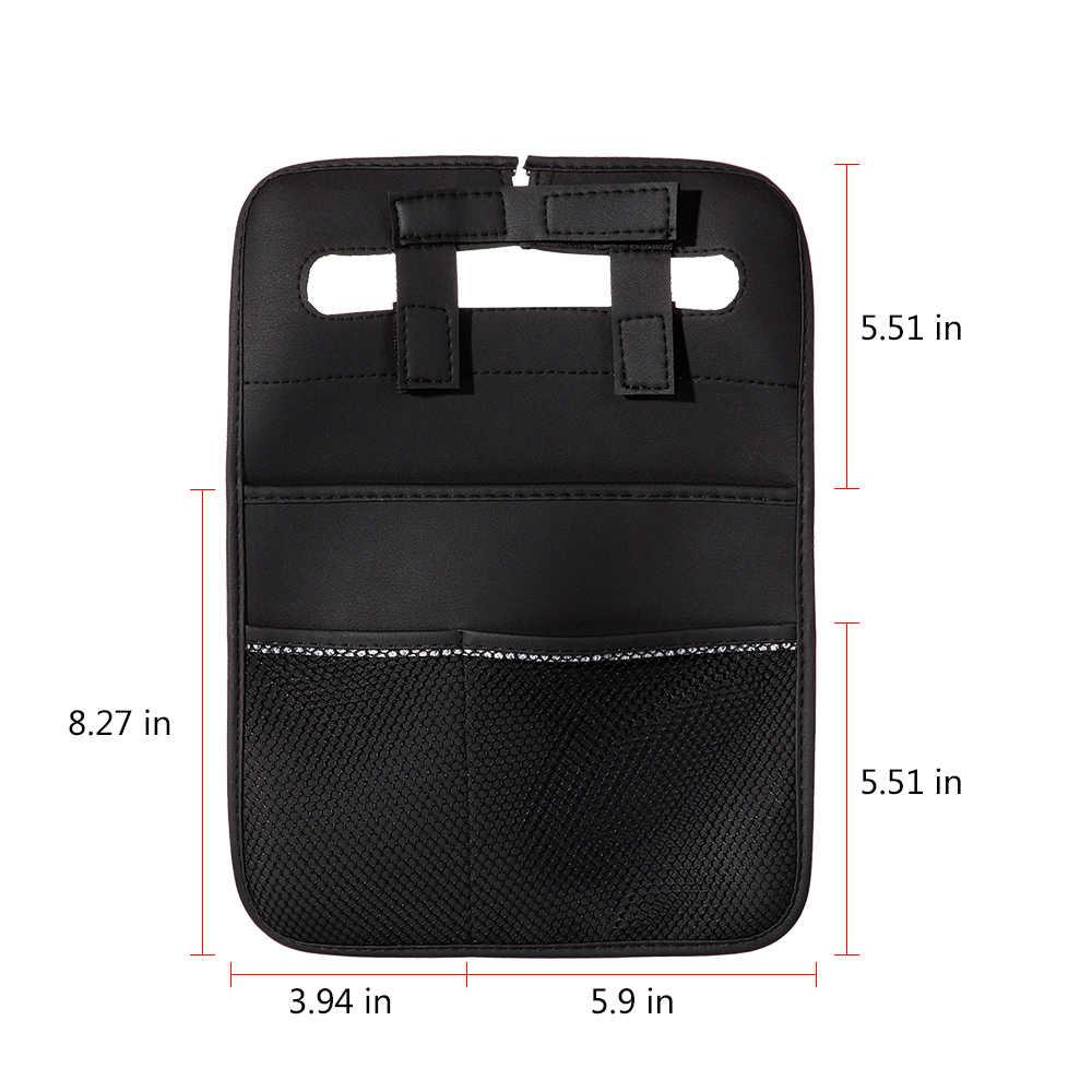 Новый заднем сиденье автомобиля мешок висит мульти-карман сумка кожаная для хранения книг Ручка Телефон не занимая пространство авто Укладка Уборка
