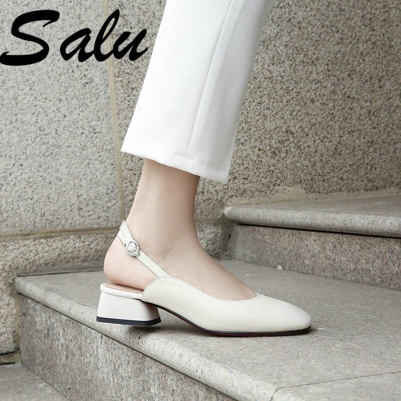 Salu Peau de Mouton sandales à talon carré Coloré Rayures Fille chaussures de loisirs D'été Femmes Doux Véritable chaussures en cuir Taille 35-40