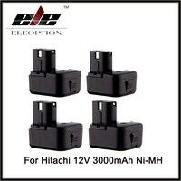 4pcs Replacement Power Tool Cordless Drill Battery for Hitachi EB1214S EB1214L EB1212S Battery 12V 3.0Ah Ni MH