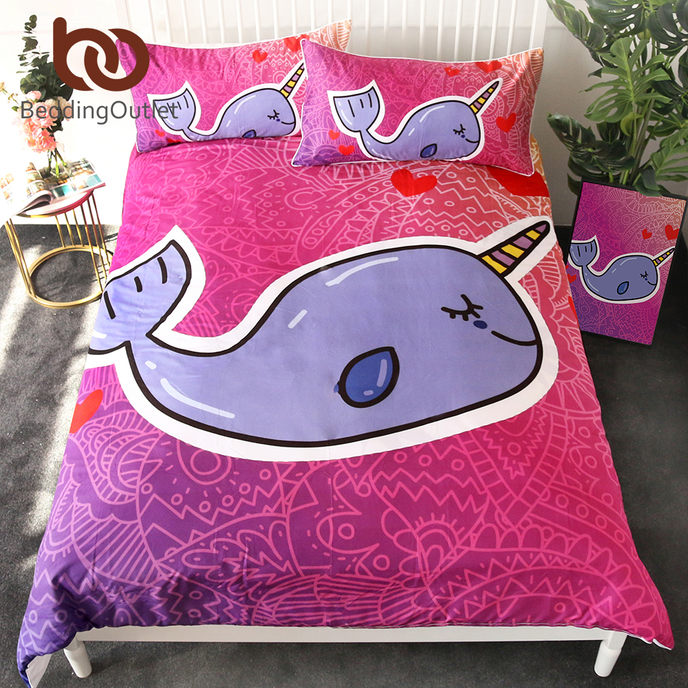 Bedding Sets Honest Beddingoutlet Narwhal Bedding Set For Kids Cartoon Duvet Cover Set Purple Whale Home Textiles Fish Floral Bedclothes 3pcs Single