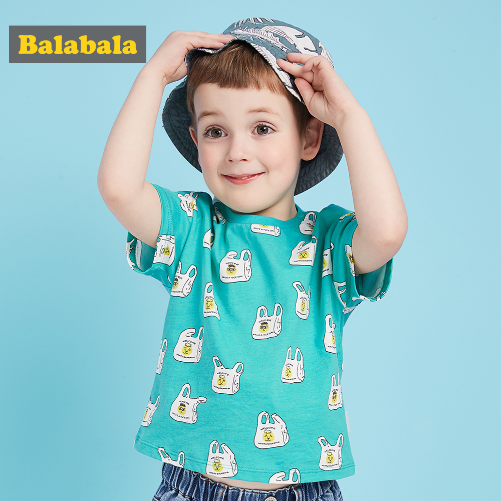 Balabala baby boy clothes t-shirts for summer kids cotton cartoon t shirt for boys printed costume children o neck Tops & Tees цена и фото