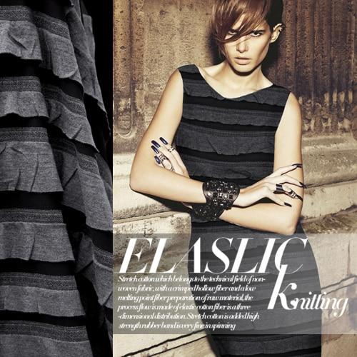 Élégant noir et gris tricoté robe chemise printemps et été haute-élastique tissu tissus en gros haute qualité tissu
