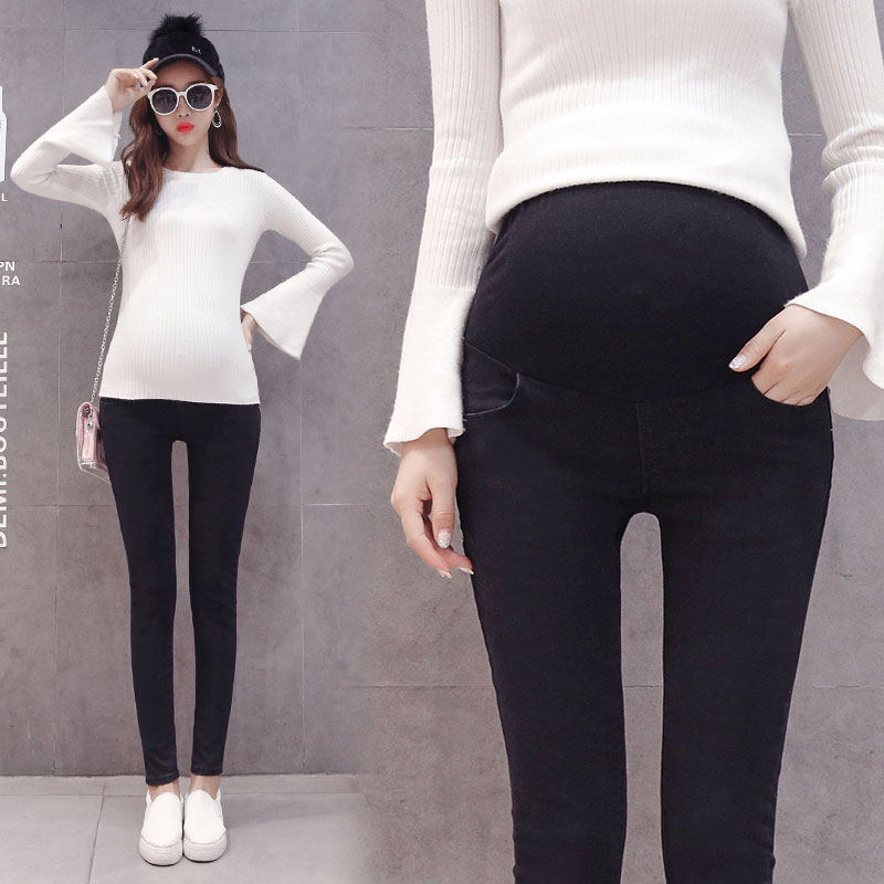 1032# Black Stretch Denim Maternity Jeans Elastic Waist Belly Pencil Trousers Clothes for Pregnant Women Autumn Pregnancy Pants elastic waist plus size women pregnant jeans maternity denim clothes belly pregnancy pants maternidade vetement grossesse