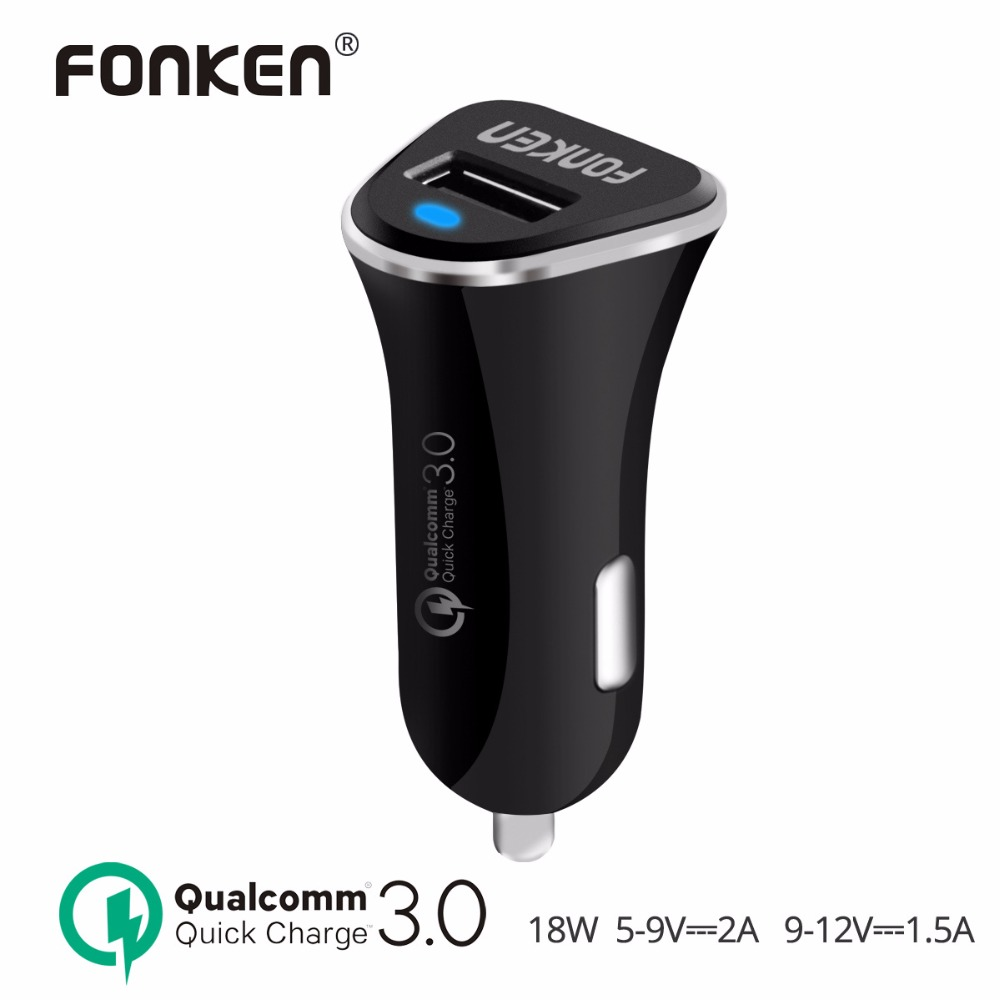 FONKEN USB Car Charger Quick Charge 3.0 Fast Auto Car-Charger Max 18W Power Adapter QC3.0 QC2.0 Charging Mobile Phone Chargers
