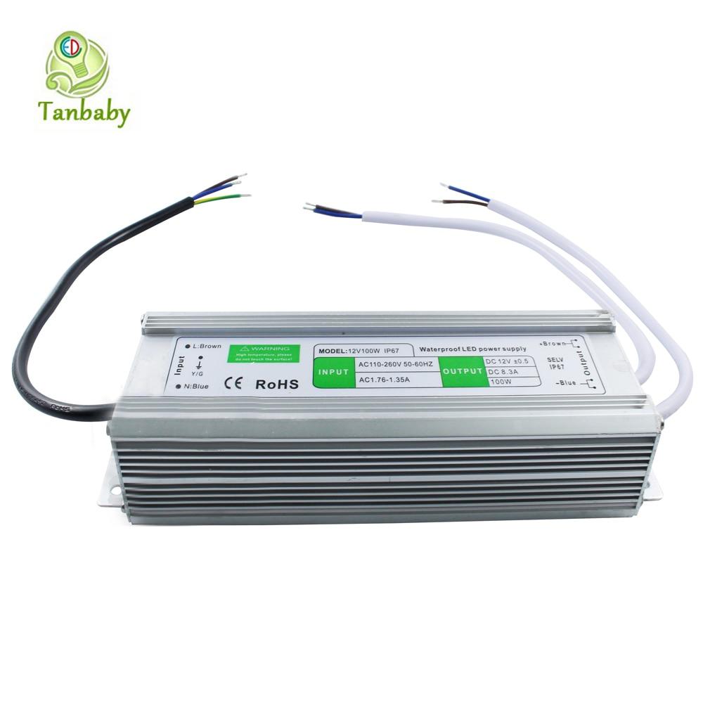 ФОТО Tanbaby Waterproof IP67 DC12V 100 Watt led driver Input AC100-260V to DC12V waterproof outdoor transformer power supply