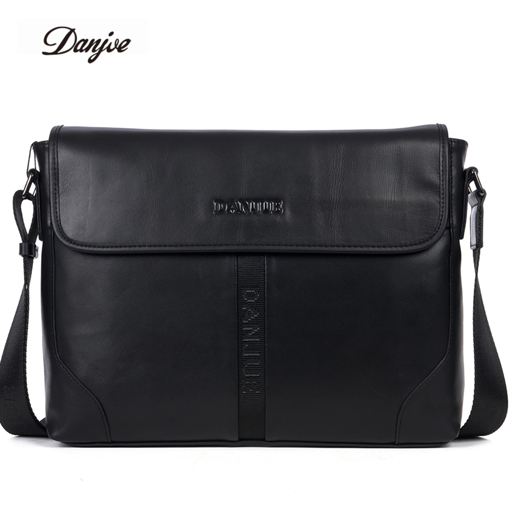 DANJUE Fashion Men Bags Genuine Leather Messenger Bag Male Business Briefcase Crossbody Bags Male Cover Classic Shoulder Bag Man danjue genuine leather men travel shoulder bag double zipper designer crossbody bag business fashion real leather briefcase bag