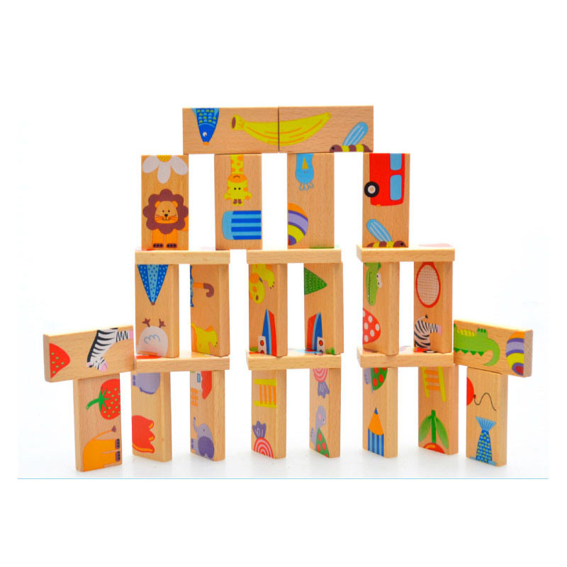 Wooden Childrens Educational Toys 28 Animal Matching Jigsaw Puzzles Childrens Domino Toys Montessori Educational Toys ...