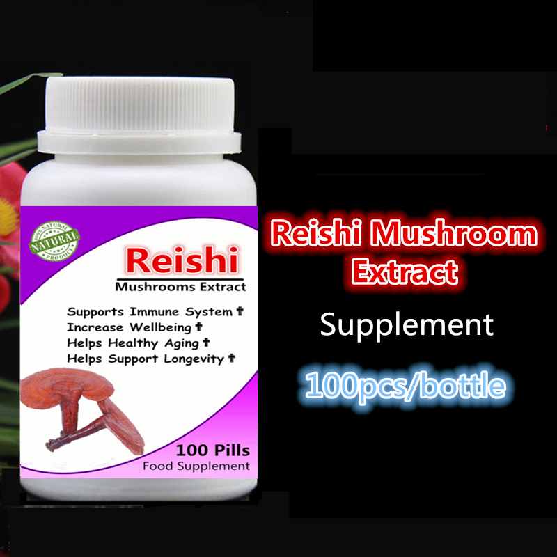 Reishi Mushroom Extract Ganoderma Lucidum Lingzhi Support Immune System & Longevity, Increase Wellbeing,Anti Cancer & Anti aging siberian chaga mushroom extract 100pieces bottle boost your energy level support your immune system free shipping