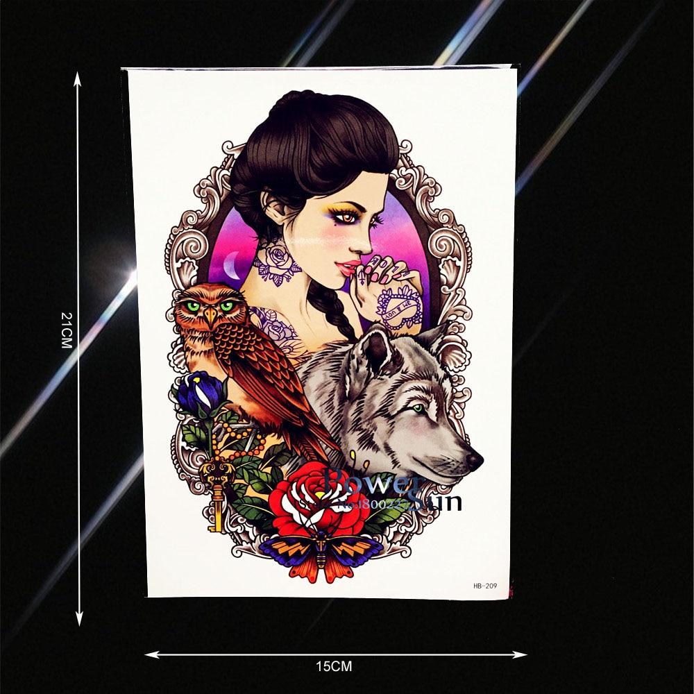 Beauty Women Wolf Owl Queen Temporary Tattoo Sticker Fake Flower Arm Tatoo Paste Waterproof Body Back Art Tattoo Stickers PHB209