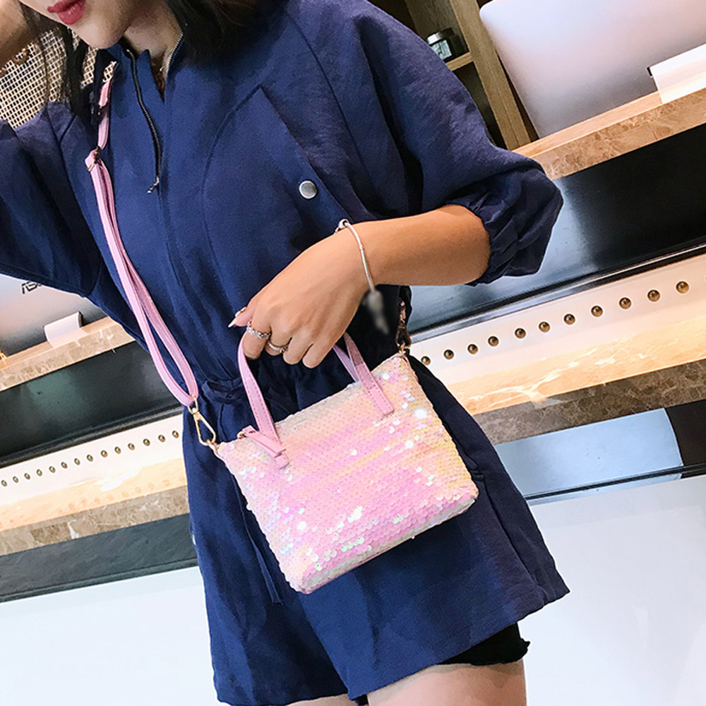 Fashion Women Sequins Leather Hit color Mini Crossbody Bag Shoulder Bag Hand Bag Sweet and simple style Handbags