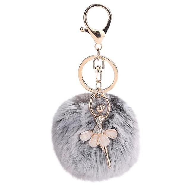 Women's Furry Ball Keychain with Dancer Pendant