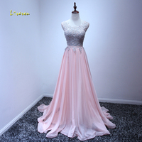 Loverxu Elegant Scoop Neck Appliques Pink Princess Prom Dresses 2017 Beaded Chiffon Brush Train Formal Party
