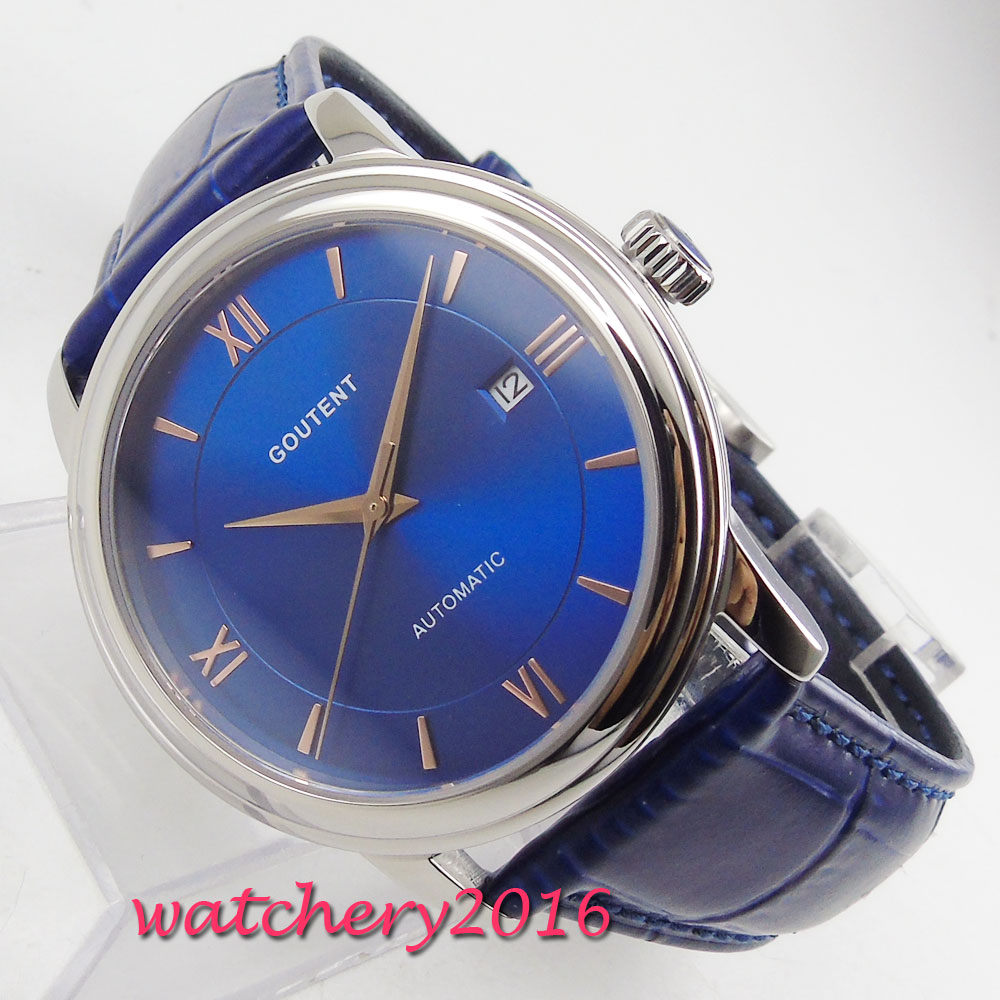 2019 New Arrive 40mm Coutent Blue Dial Sapphire Glass Rose Golden Plated Hands Miyota Automatic Mechanical Mens Wristwatch2019 New Arrive 40mm Coutent Blue Dial Sapphire Glass Rose Golden Plated Hands Miyota Automatic Mechanical Mens Wristwatch