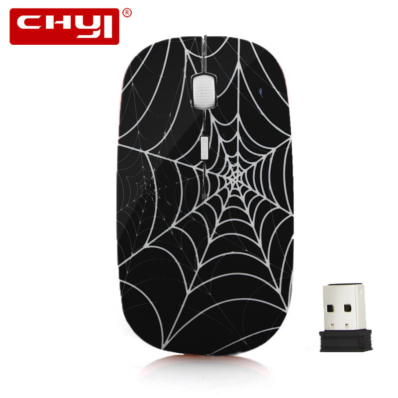 CHYI Ultra Thin Wireless Mouse Computer Gaming Slim Mice Spider Web Design Mause 1600DPI Optical Mouse Sem Fio For Gamer Laptop
