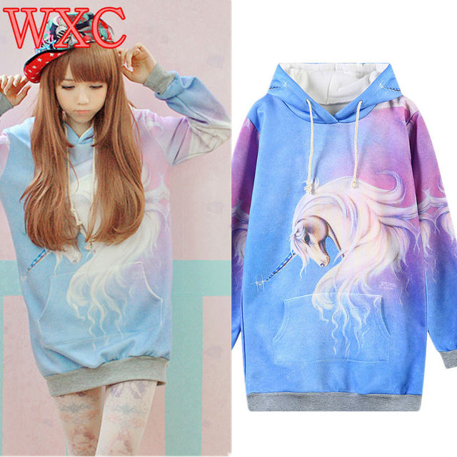 Unicorn Hoodie Kawaii Pullover Harajuku 3D Pinted My Little Pony Sweatshirt Women Moletom Hooded Felpe Donna Hoodies Sweat WXC