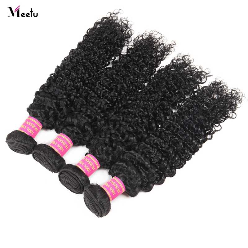 Meetu индийские курчавые пучки вьющихся волос 100% человеческие волосы переплетения пучки не Реми 4 пучки по сделки 8-28 дюймовый двойной уток Бесплатная доставка
