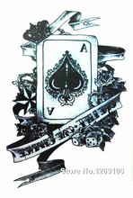 Design Poker A 21x15cm Cool Waterproof Temporary Tattoo Stickers
