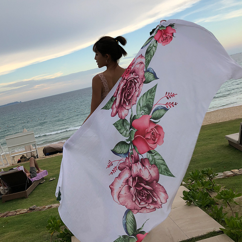 RUNMEIFA 2019 Fashion Summer Rose Print Cotton Scarf For Women Long Soft Wraps And Shawls Beach Hijab Female Foulard