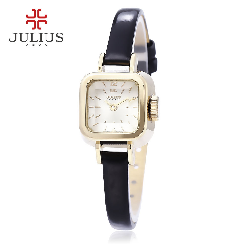 Julius Women Quartz Watch 3ATM Genuine Leather Band Stereo Cut Mirror Square Dial Wristwatch