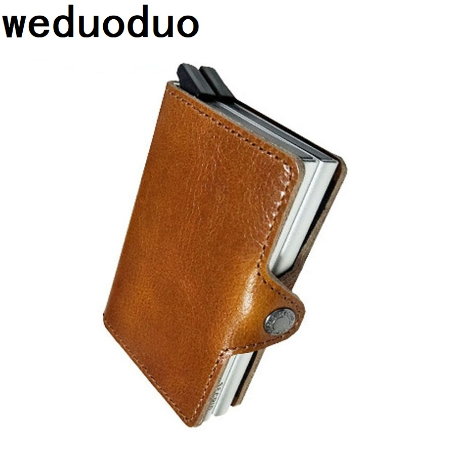 weduoduo Men Business ID Card Holders Genuine Leather Credit Card Holder Bank Card Organizer Information Safe Card Case Gift fashion unisex business credit card holder top brand alloys bank card case id holders card organizer drop shipping gift yl