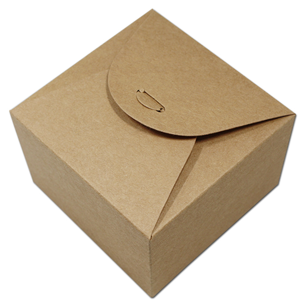 9*9*6cm Brown Kraft Paper Scalloped Small Box Wedding Party Favor Soap Cake Chocolate Cookie Packaging Gift Box Case Present Box