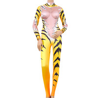 Singers Performance Jumpsuit Sparkling Crystals Bodysuit Bling Outfit Tiger Queen Nightclub Party Stage Wear Costume for DJ DS