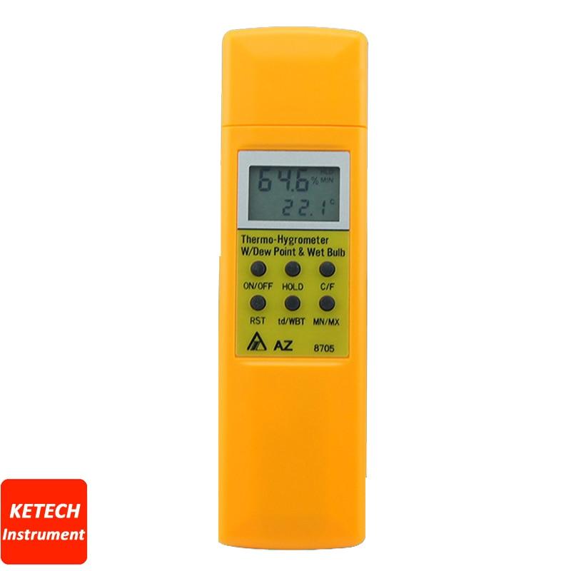 Handheld Hygrometer Humidity, Temperature, Dew Point, Wet Bulb Temperature AZ8705 ht 86 digital thermometer hygrometer wet bulb dew point temperature meter o0s0