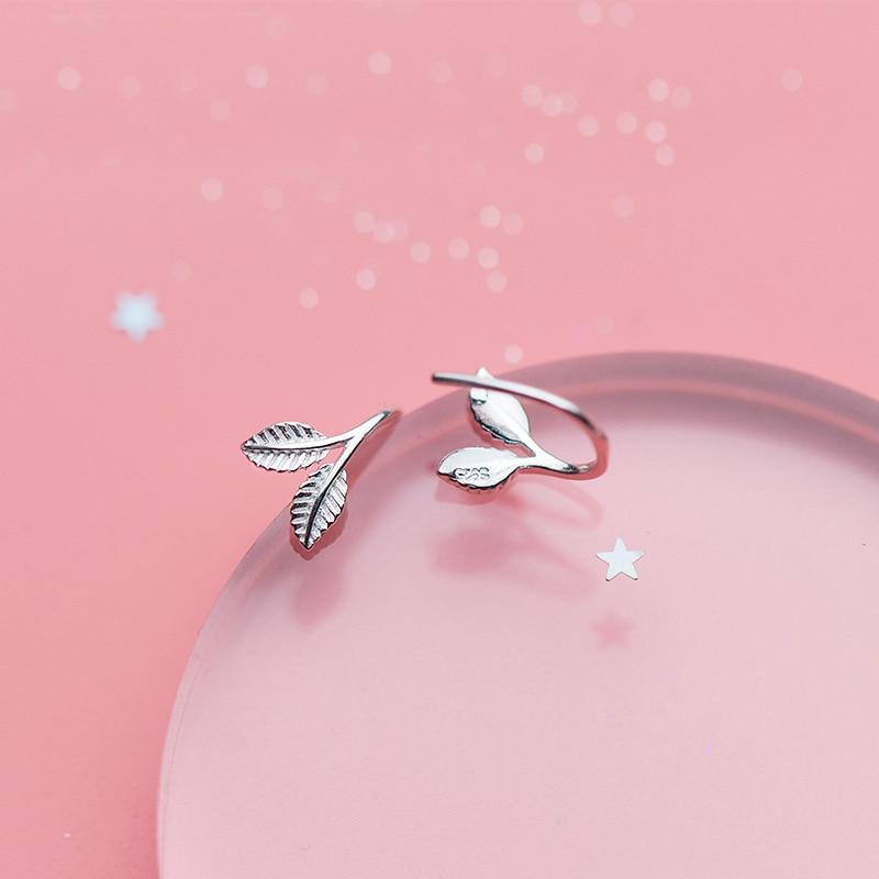 MloveAcc Подарки 925 серебро листья серьги стержня для Для женщин девочек Модные украшения Специальный магазин ...