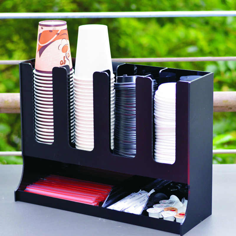 4 cells acrylic paper cups puller bar drink shop cashier desktop collection cup organizer paper cups holder container rack