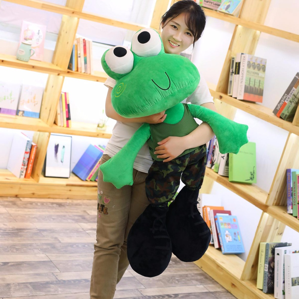 100cm big plush frog toys cute green frog wear clothes soft doll large stuffed animal soft doll kids toys birthday gift for her free shipping 45cm cartoon the muppets kermit frog plush toys soft boy doll for children birthday gift
