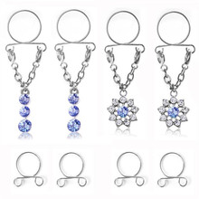 2pair/set New Bohemia Water Drop Non pierced Clip On Nipple Rings Women Fake Nipple Dangle Adjustable Summer Body Jewelry