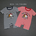 Baby Romper Hello Kitty Baby Boy Girl Clothes 2016 Summer Character Cotton Striped Newborn Short Sleeve Clothing Gown For Kids