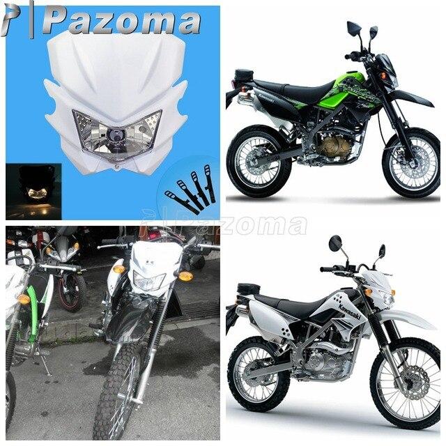 Universal White Motorcycle Supercross Headlamp Fairing Dirt Bike For Kawasaki Kx Klx Klr Kle Zzr Kdx
