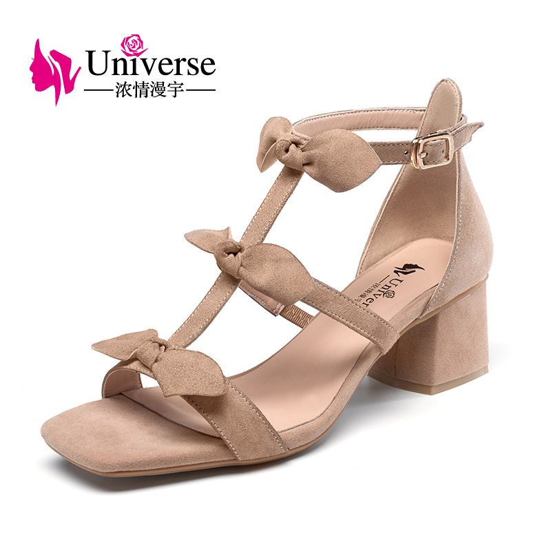 Universe 2017 Ankle Strap Heels Women Sandals Summer Shoes Women Open Toe  Butterfly-knot Sweet Square Heel Party Shoes G169 2017 new arrival abnormal jeweled heels rhinestone crystal embellished high heel sandals ankle strap lock summer party shoes