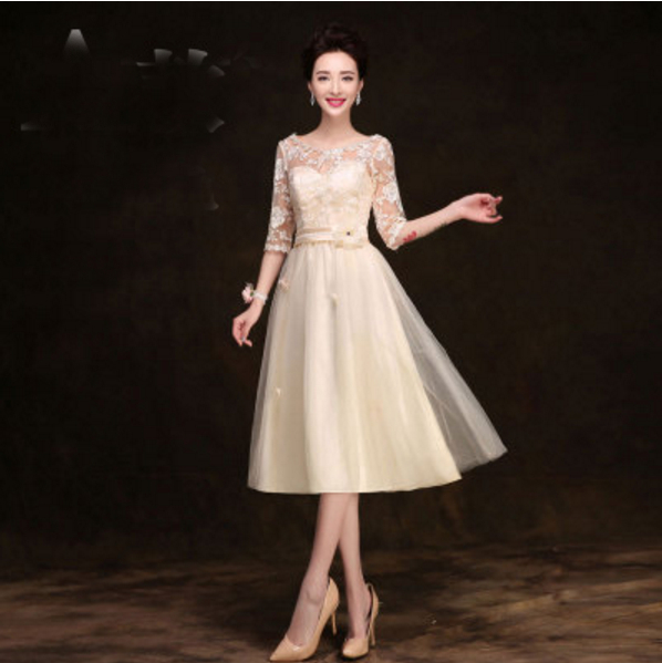 Spring petite champagne evening pageant dress half sleeves for Petite evening dresses for weddings