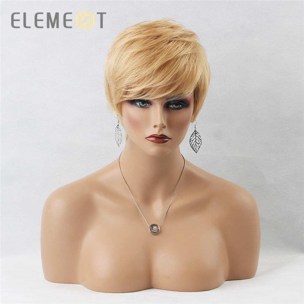 Élément 6 pouce synthétique cheveux courts perruque mélange 50% cheveux humains perruque pour les femmes Pixie Cut côté séparation courte droite couleur Blonde