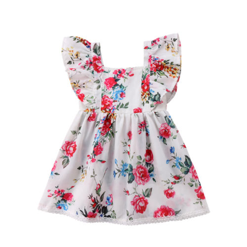 Summer Newborn Toddled Baby Girl Kids Christening Dress Ruffled