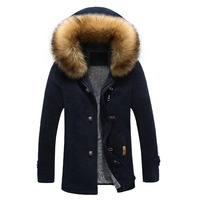 Woolen coat Men's cashmere thick winter fur collar European style down jacket Outwear against the cold Wool & Blends