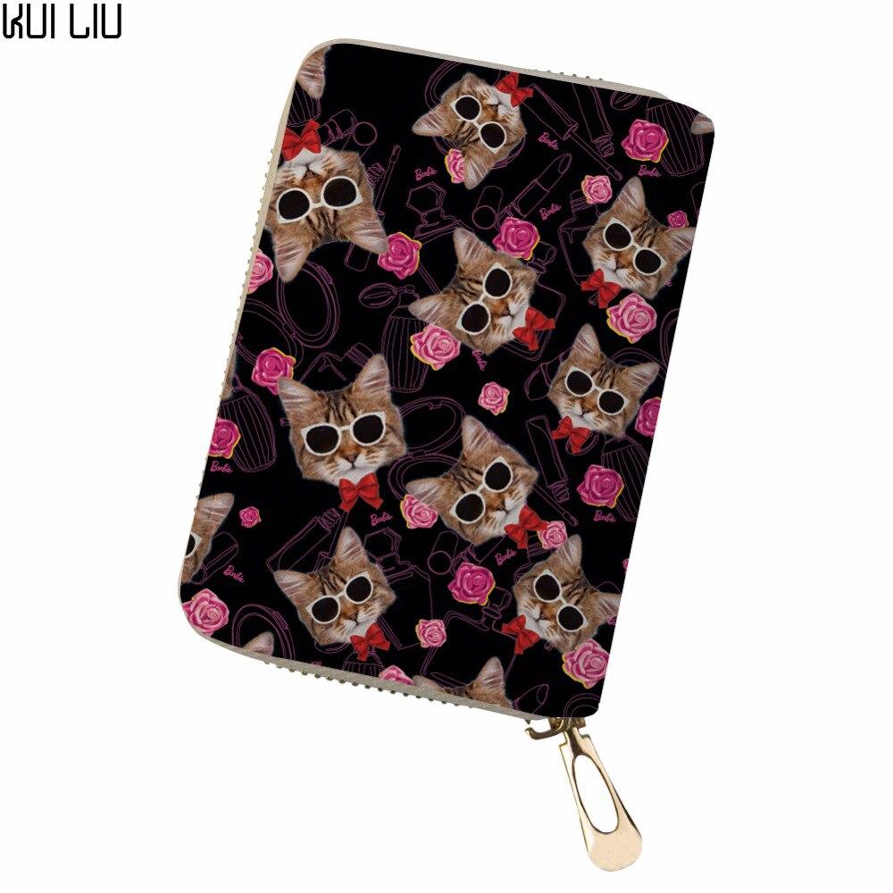 100% Wahr Angepasst Reise Brieftasche Pochette Überraschung Doppel Offenen Visitenkarte Tiere Rosa Katzen Süße Hund Karte Kreditkarte Halter