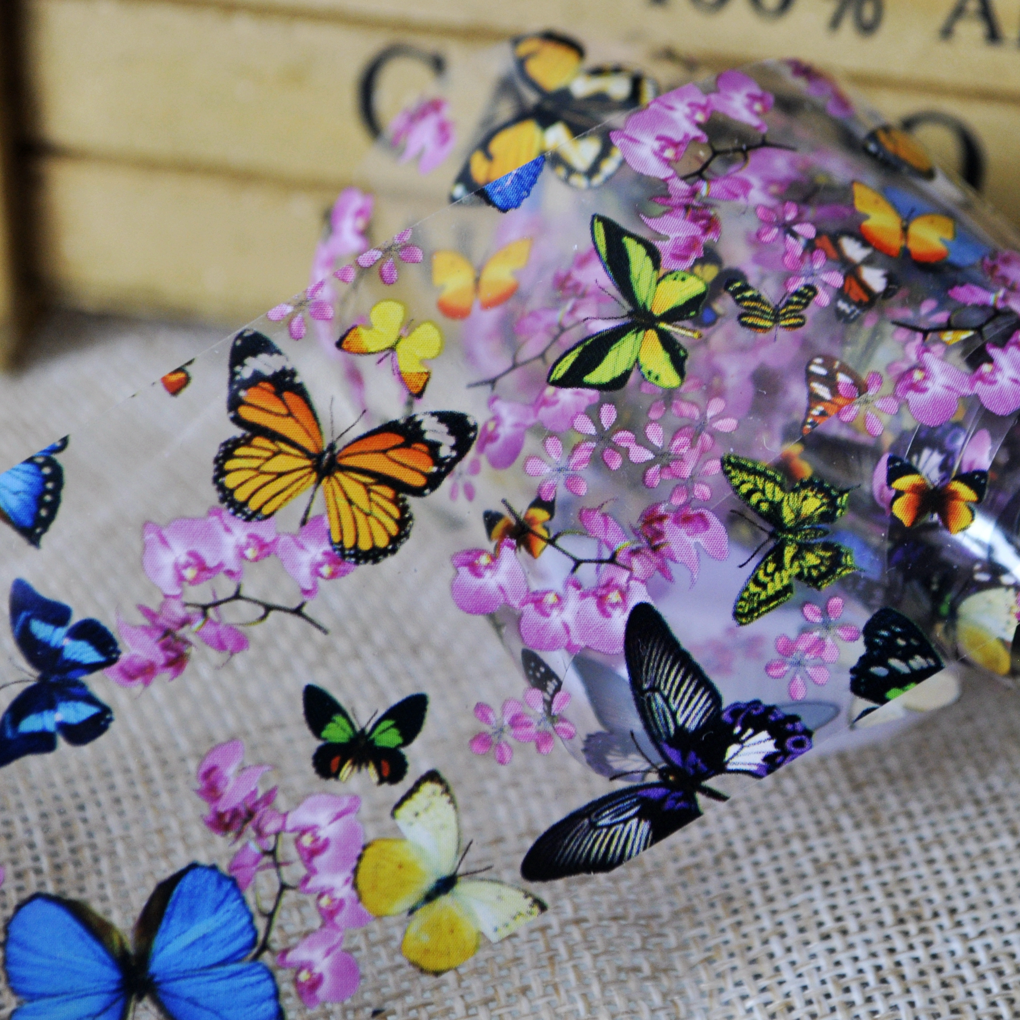 Lady Nail Folies Multicolor Vlinders Patroon Transfer Film Polish - Nagel kunst