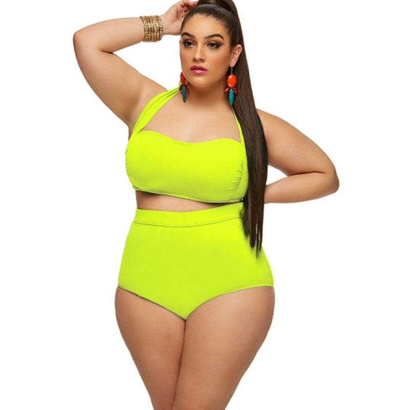 557209a85db83 ... 2018 Vintage Plus Size Swimwear Women s High Waisted Bikini set Swimsuit  Sexy Large Female Bikinis Bathing ...
