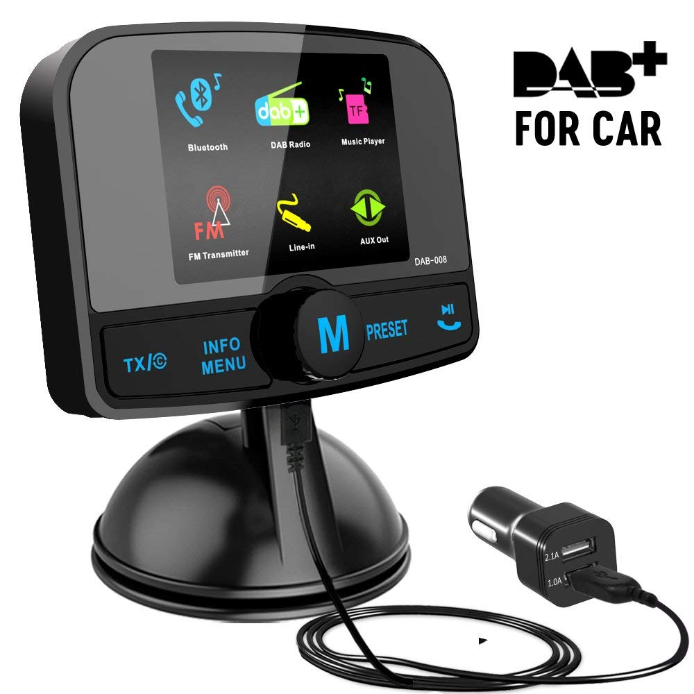in car dab digital radio with fm transmitter 2 4 lcd screen bluetooth receiver micro sd tf. Black Bedroom Furniture Sets. Home Design Ideas