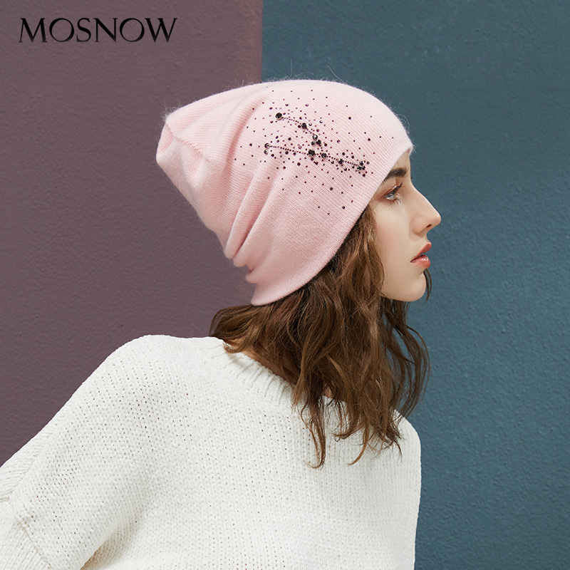 Winter Beanies High Quality Rhinestones Lady Beanies Women Hats For Autumn New Brand Warm Lining Knitted Caps Wool Hat Female