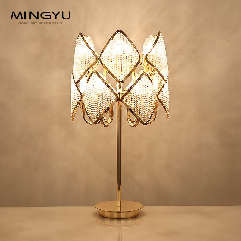 Modern Bedroom Bedside Table Lamp Foyer Art Decoration Light Gold Color Table Lamps E14 LED Bulbs Handmade Beaded Lampshade