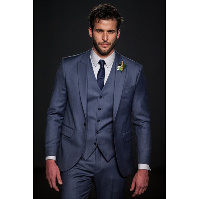 Custom Made Navy Blue font b Men b font font b Suit b font Slim Fit