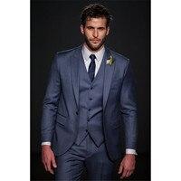 Custom Made Navy Blue Men Suit Slim Fit Skinny kingsman 3 Piece Groom Tuxedo 2017 new Wedding Prom Mens Suits (Jacket+Pant+Vest)