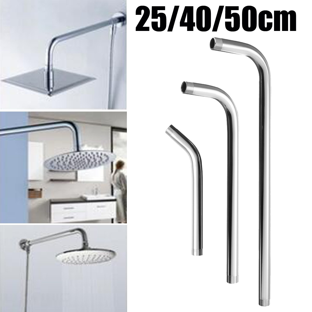 New 25cm 40cm 50cm Wall Mounted Shower Extension Arm Angled Extra Pipe For Rain Shower Head Bathroom Tools Accessories