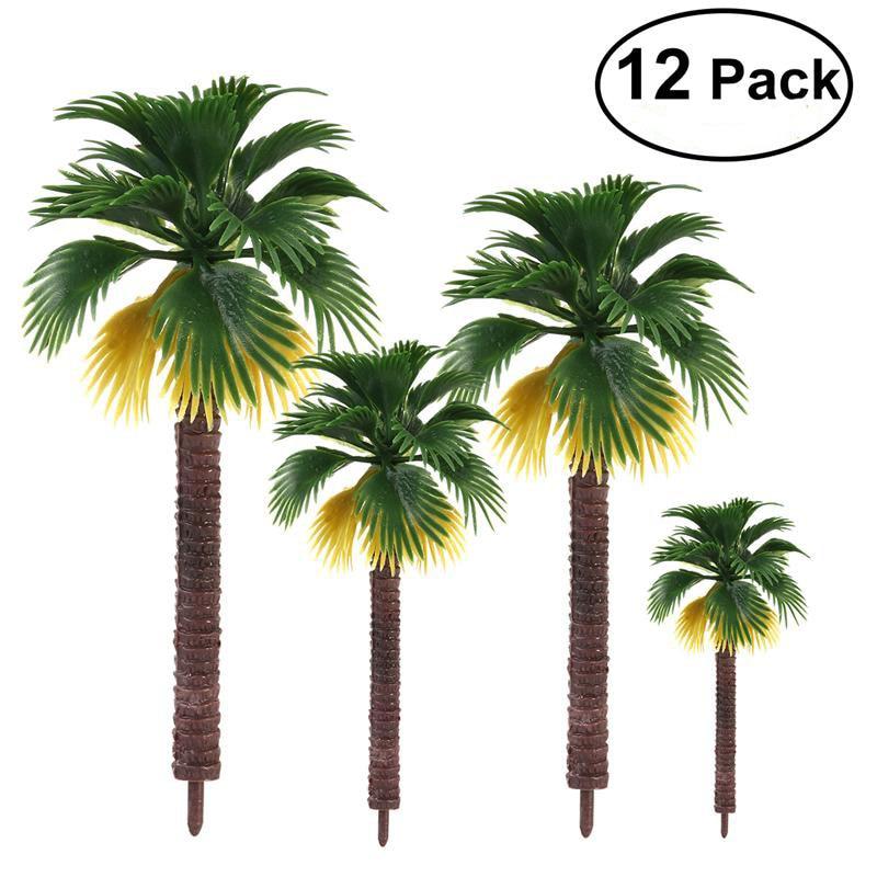12 pcs Haute Qualité Mise En Page Forêt Tropicale En Plastique Palmier Feuilles Diorama Paysage Accueil Parti Décoration Jouet Cadeau